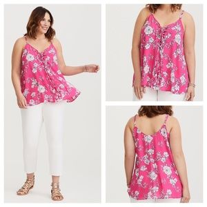 Torrid Pink Floral Lace-Up Swing Cami